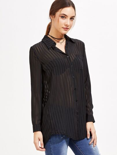 Black Vertical Striped Mesh Blouse
