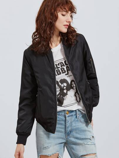 Black Star Print Back Zip Up Bomber Jacket