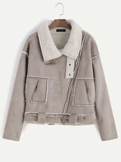 Apricot Oblique Zipper Faux Shearling Lined Coat With Buckle