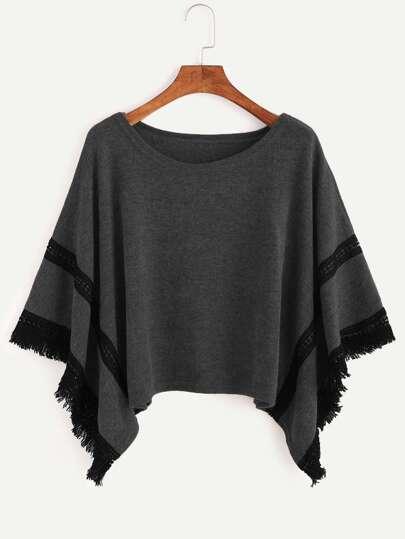Grey Contrast Crochet Fringe Hem Poncho Sweater