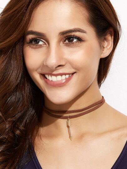 Brown Double Strand Metal Arrow Choker Necklace