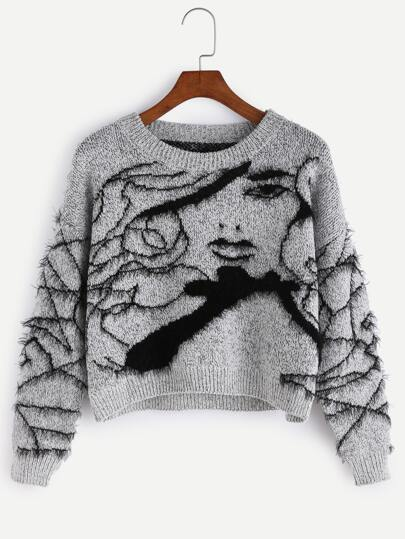 Grey Avatar Pattern Fuzzy Sweater