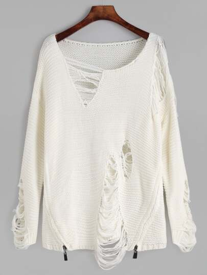 White Distressed Zipper Side Sweater