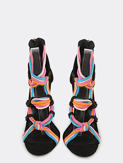 Neon Strappy  Stiletto Heels BLACK MULTI