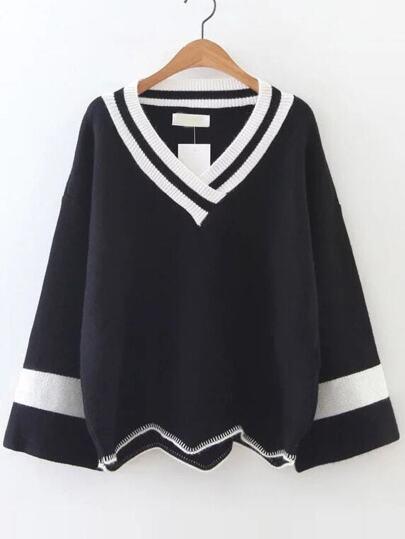 Black Color Block V Neck Asymmetrical Sweater