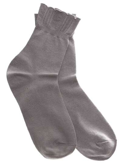 Grey Ruffle Foldover Socks