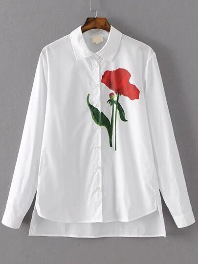 Blusa asimétrica con estampado de flor - blanco