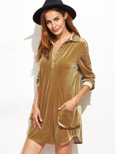 Brown Long Sleeve Lapel Velvet Dress