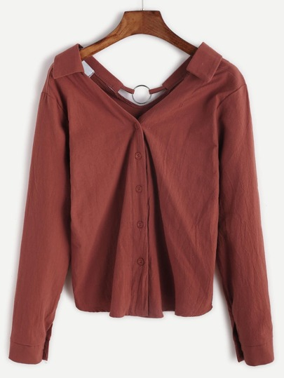 Brick Red Metal Ring Trim Button Front Shirt
