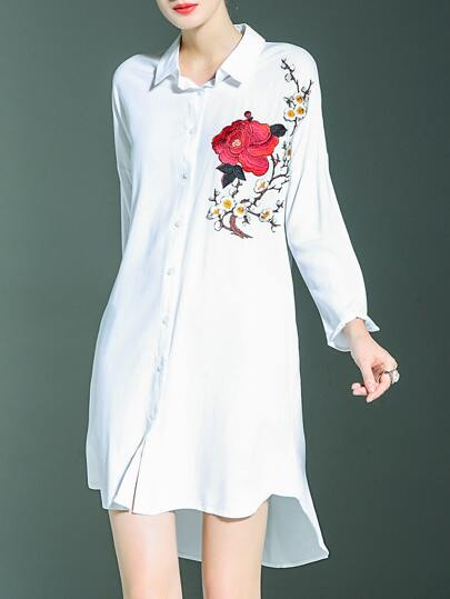 White Lapel Flowers Embroidered High Low Dress