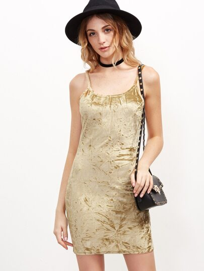 Gold Velvet Cami Bodycon Dress