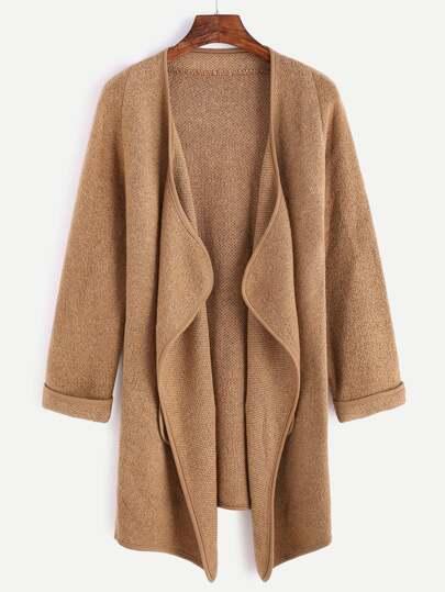 Khaki Raglan Sleeve Drape Front Cuffed Coat