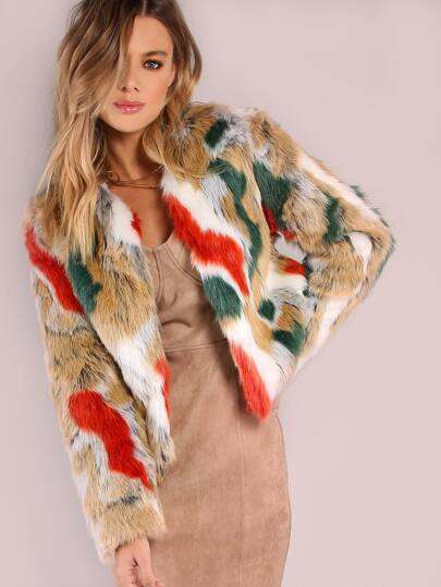 Multi Color Cropped Fur Coat BRICK