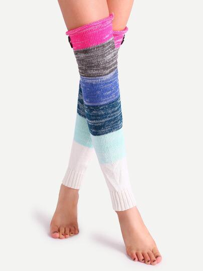 جوارب الساق محبوكة ملونة