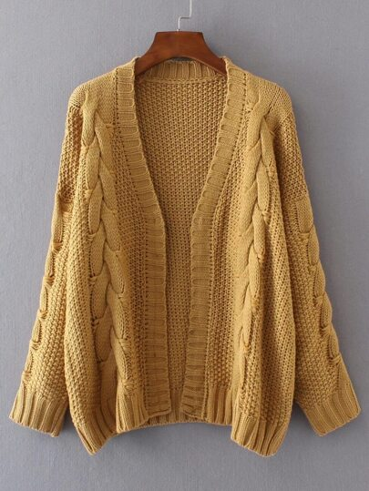 Ginger Cable Knit Open Front Cardigan