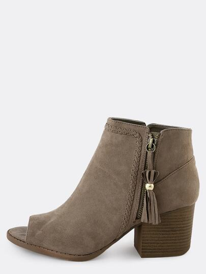 Braided Tassel Ankle Booties TAUPE