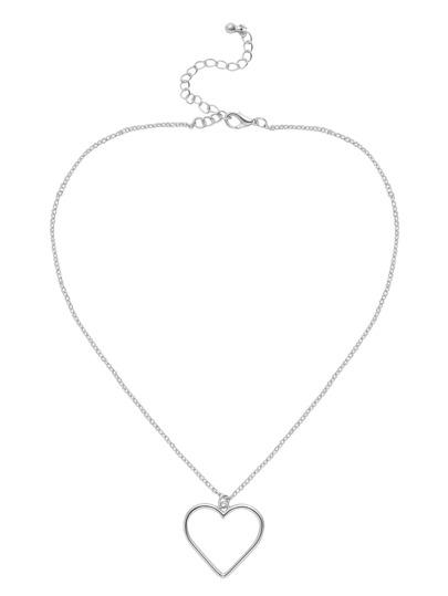 Silver Cutout Heart Pendant Necklace