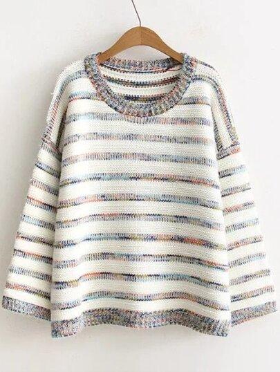 Multicolor Striped Drop Shoulder Sweater