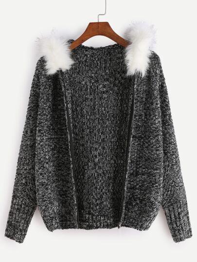 Black Faux Fur Trim Hooded Sweater Coat
