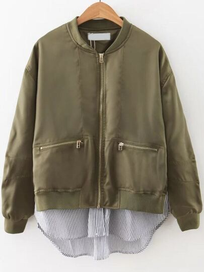 Army Green Striped 2 In 1 Zipper Jacket