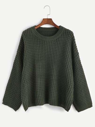 Dark Green Drop Shoulder Chunky Knit Sweater