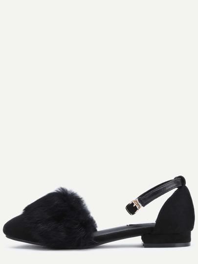Sandalias de cuero sintético con piel sintética - negro