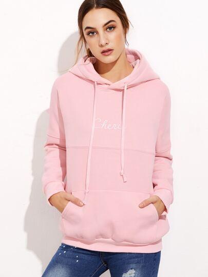 Pink Letter Print Hooded Sweatshirt