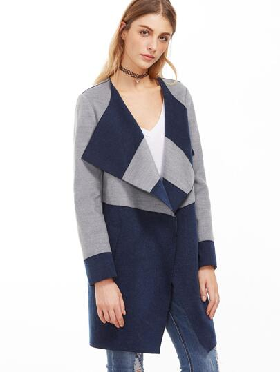 Color Block Drape Collar Coat With Pocket