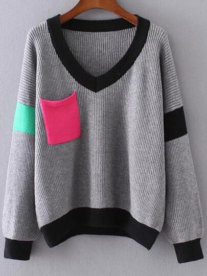 Grey Color Block V Neck Sweater With Pocket