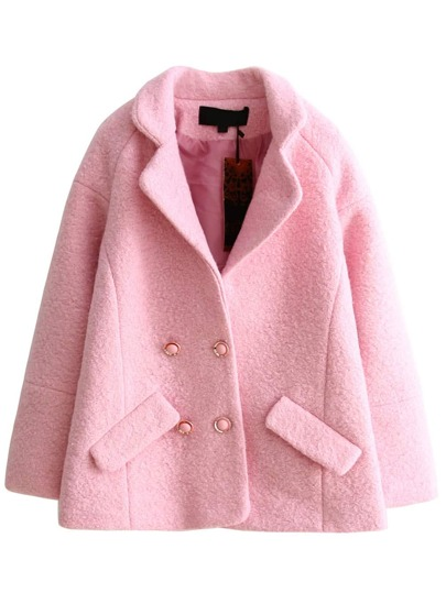 Pink Double Breasted Wool Blend Coat