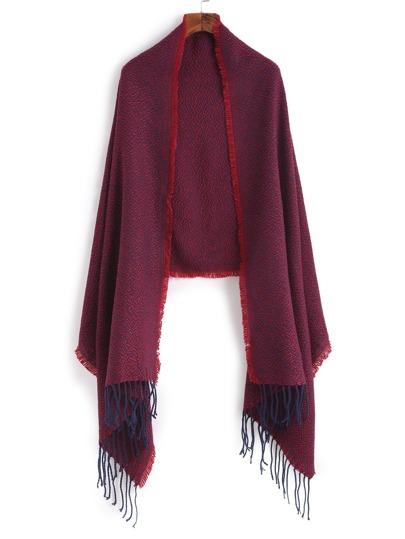 Красный модный шарф-накидка с бахромой