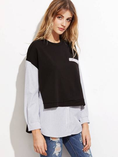 Black And White Striped 2 In 1 Sweatshirt