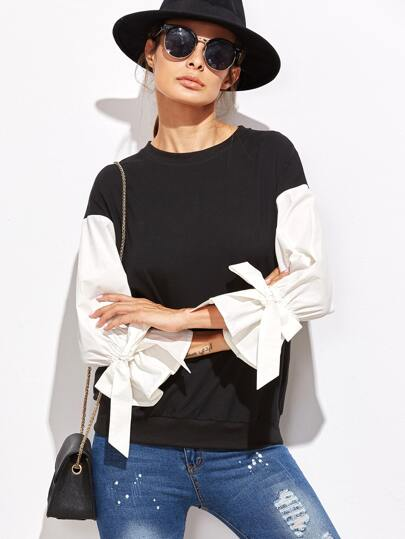 Contrast Belted Sleeve Mixed Media Sweatshirt
