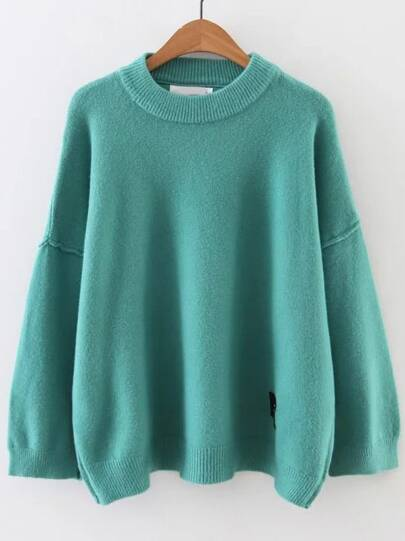 Blue Face Patch Drop Shoulder Sweater