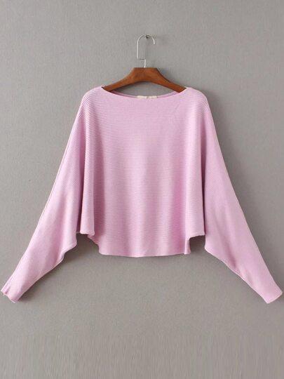 Pink Boat Neck Batwing Sleeve Knitwear