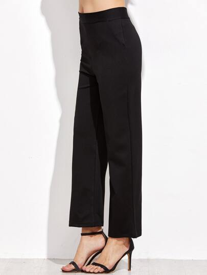 Black Zipper Back Straight Leg Pants