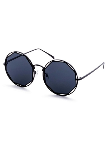 Black Frame Geometric Lens Hollow Out Sunglasses