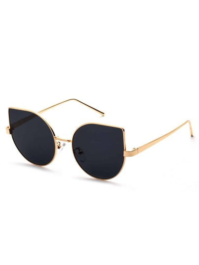 Metal Frame Black Cat Eye Sunglasses
