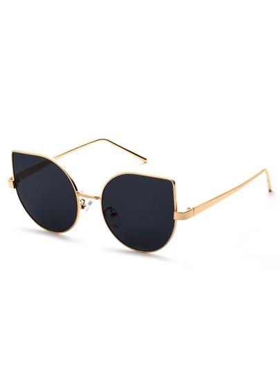 Gafas de sol con marco de metal ojo de gato - negro