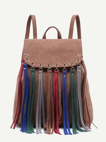 Brown Faux Leather Multicolor Fringe Flap Backpack