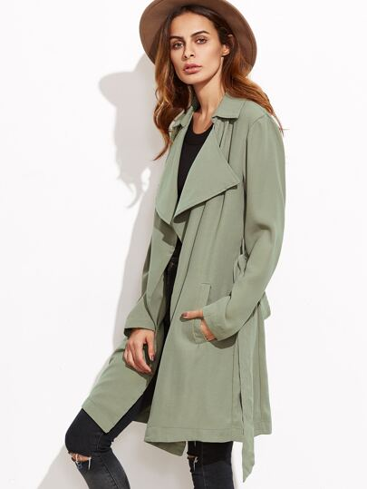 Green Drape Collar Wrap Coat