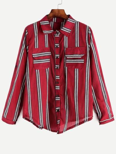Burgundy Striped Roll Tab Sleeve Shirt