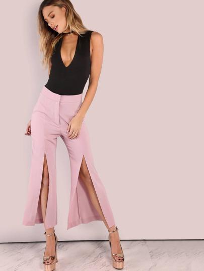 Tailored Woven Split Pants DUSTY PINK