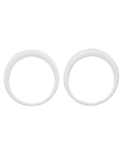 White Enamel Big Round Stud Earrings