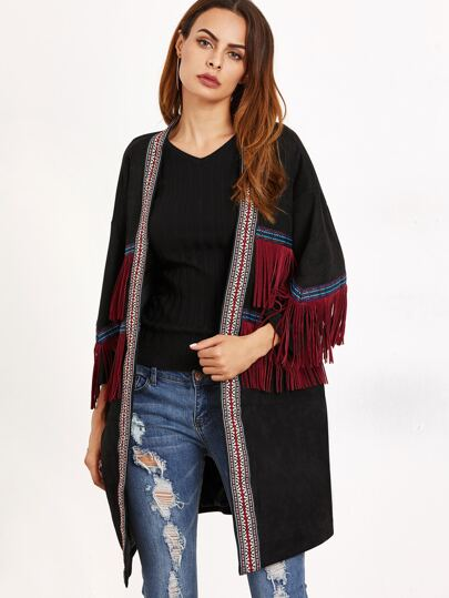 Black Tribal Pattern Fringe Detail Coat