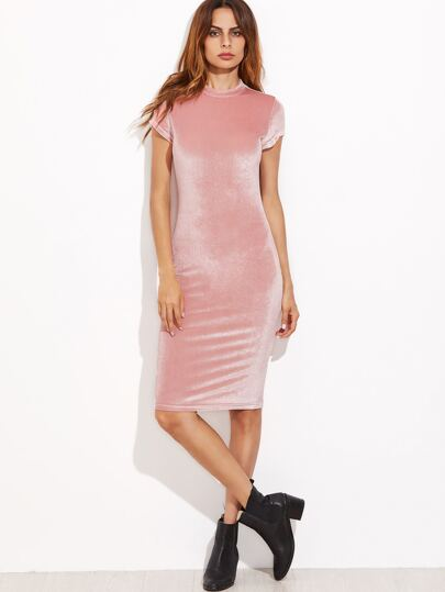 Pink Mock Neck Velvet Pencil Dress