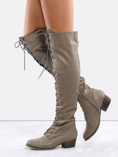 Almond Toe Combat Knee Boots BEIGE