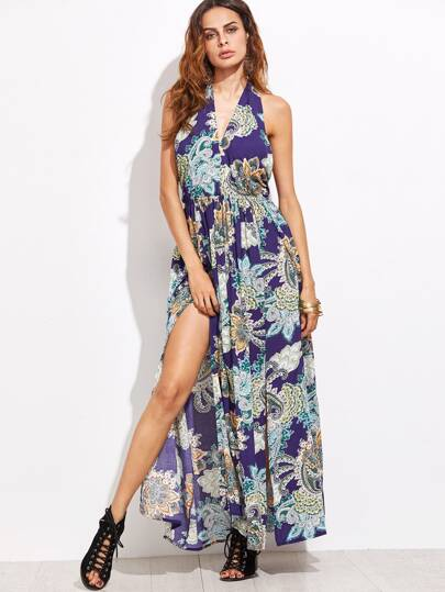 Navy Printed Halter Backless Maxi Dress