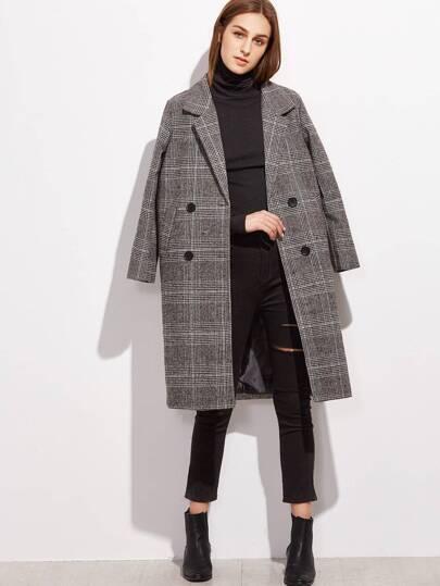 Glen Plaid Zweireiher Mantel