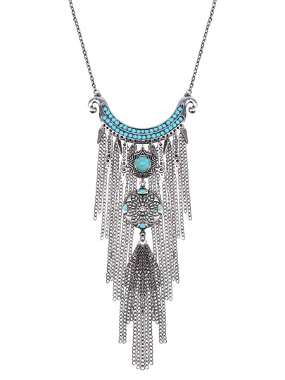 Silver Chain Fringe Turquoise Vintage Pendant Necklace